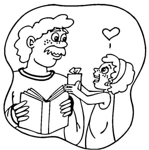 Dibujo De Regalo De Una Hija A Su Padre Para Colorear Dibujos Para