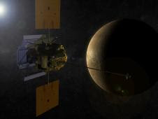 An artist's concept shows the MESSENGER spacecraft in orbit around Mercury.
