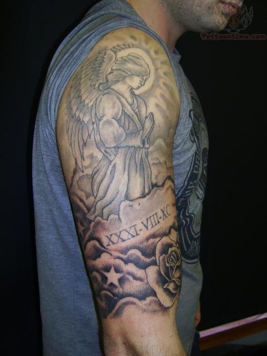 Grey Ink Praying Angel Tattoo On Half Sleeve