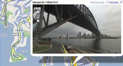 screenshot of sydney harbour bridge in street view