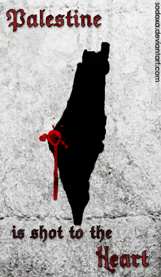 Pencipta gambar ini berkata: Palestine is shot to the heart and no one cares to heal the wounds , our people in Gaza , may God be with you ~ Picture by SoDoXa of Deviant Art