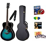 Yamaha FS720S Cobalt Aqua Small Body Folk Acoustic Guitar Bundle with Yamaha Hard Case, Instructional DVD, Picks...