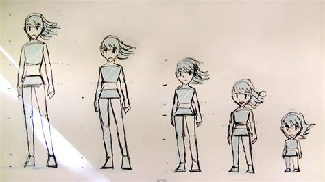 draw female body proportions teenager  kid