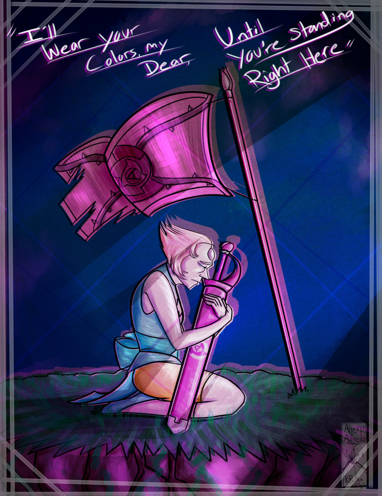 Commission for @jerk-bending of a very sad Pearl missing Rose Quartz. Song lyrics from Colors by April Smith DeviantART - Furaffinity - Weasyl - Picarto