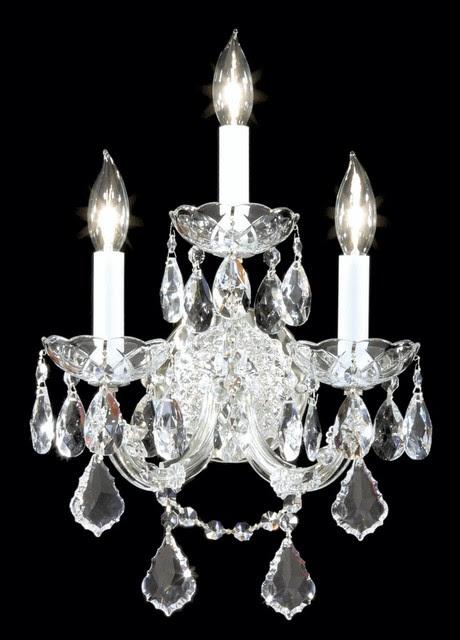 Crystal James R. Moder Maria Teresa Three Light Silver Wall Sconce ...