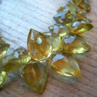 olive quartz briolettes