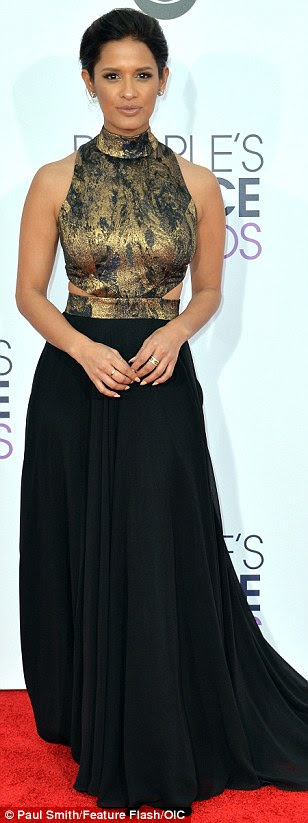 Showing some skin: (L-R) Renee Bargh,Liz Hernandez and Rocsi Diaz flashed the flesh on the red carpet