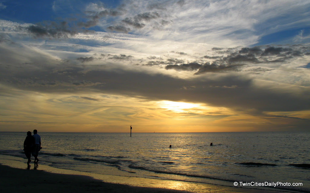 I would like to thank the couple walking hand in hand down the waterline at sunset on Clearwater Beach. They added that extra element to the scenery.