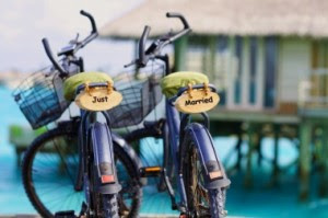 The bride and groom's bicycles at Six Senses Laamu, Maldives
