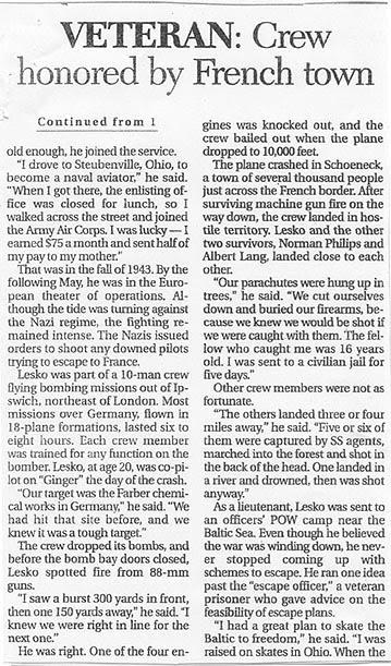 newspaper article on George Lesko