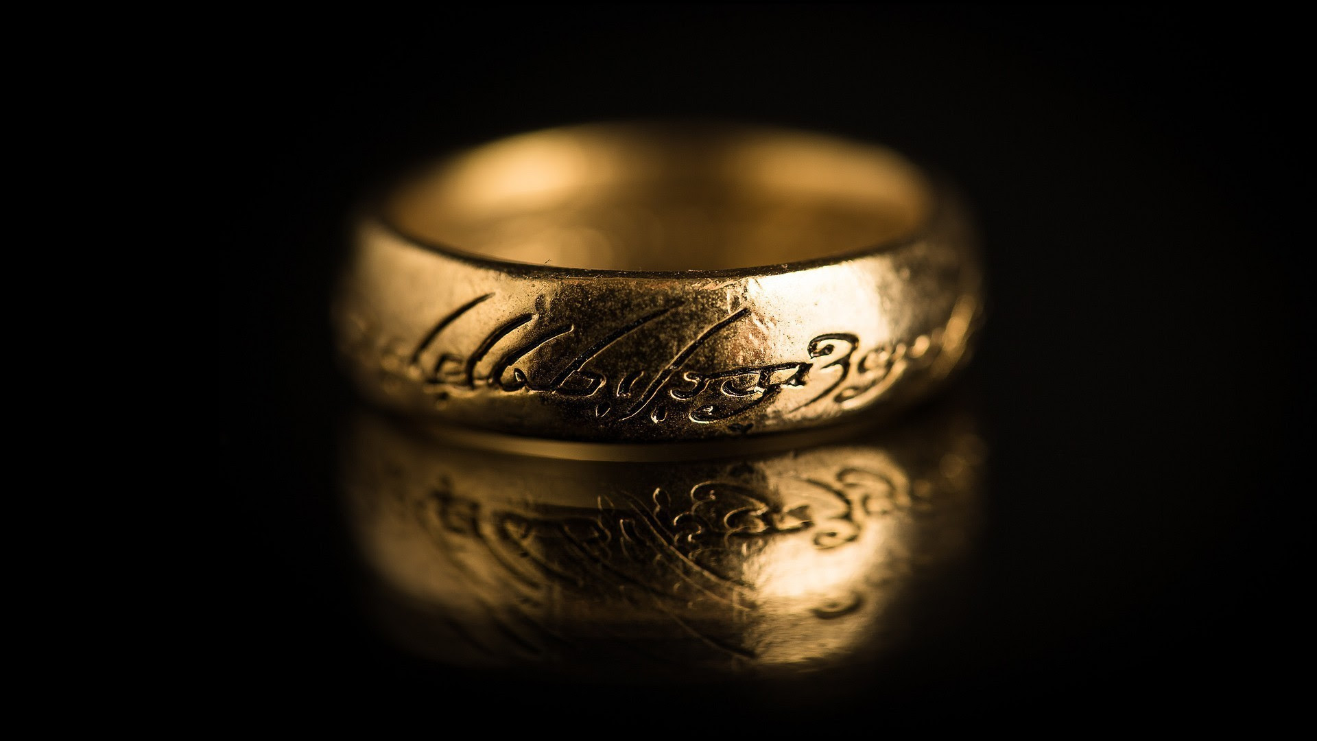 The Lord Of The Rings, Rings, Reflection, Black Background, Depth Of Field, The One Ring