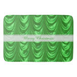 Personalize Christmas Green Ruched Satin Scallops Bath Mats