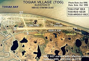 English: Annotated aerial photograph of (FAA: ...