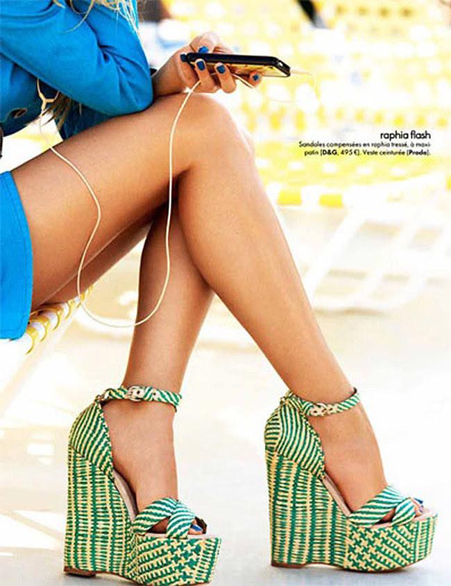 Dolce and Gabbana, D&G Florals and Raffia Platform Shoes, Fashion