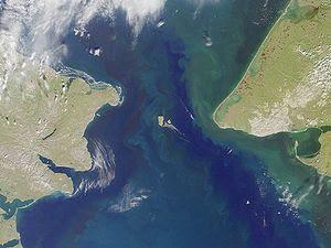 Bering strait, image taken by MISR sattelite.
