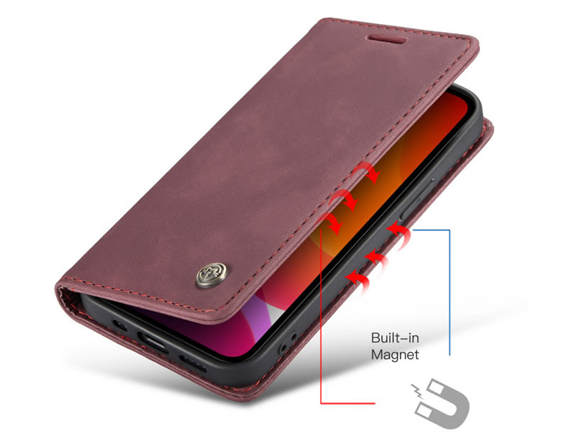 CaseMe iPhone 12 Pro Max Wallet Leather Magnetic Flip Case Red