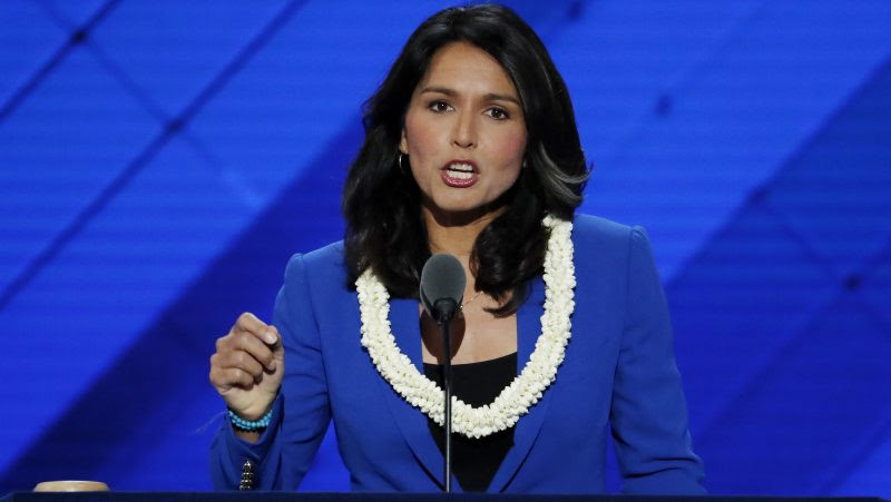 Rep. Tulsi Gabbard, D-HI., nominates Sen. Bernie Sanders, I-VT., for President of the United States during the second day of the Democratic National Convention in Philadelphia , Tuesday, July 26, 2016. (AP Photo/J. Scott Applewhite)