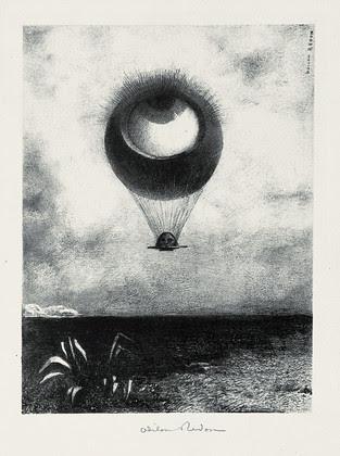 Redon, Odilon (1840-1916) - 1882 The Eye Like a Strange Balloon Mounts Towards Infinity (Museum of Modern Art, New York City) by RasMarley