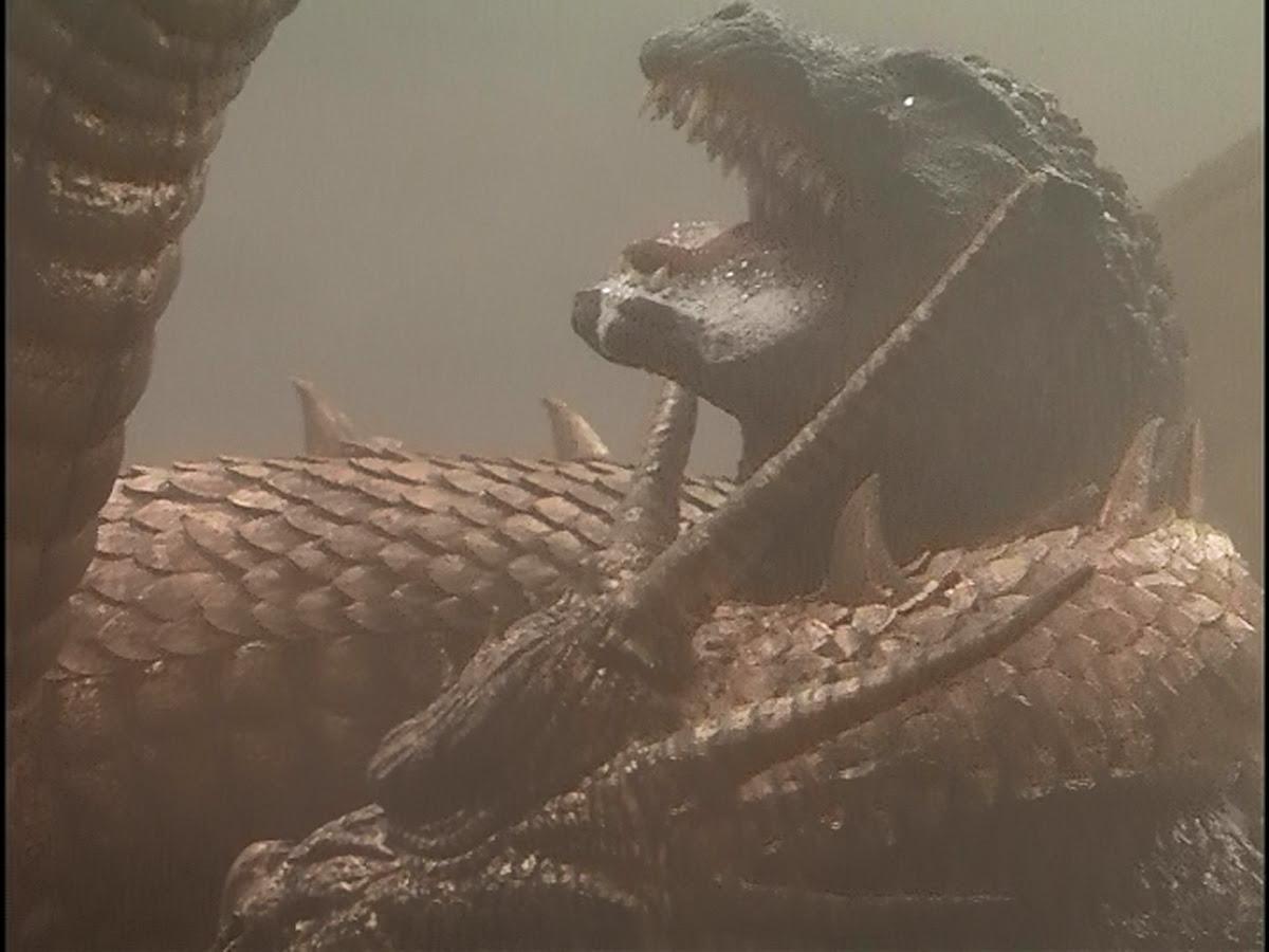 Strangling Godzilla.
