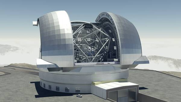 Progetto del super telescopio E-elt (fonte: ESO)