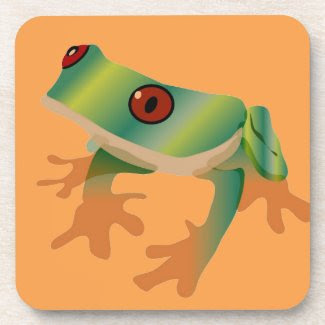Tree Frog on Set of Cork-Backed Coasters