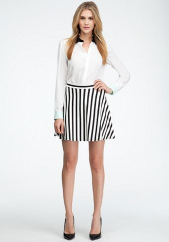 Bebe Stripe Mini Circle Skirt