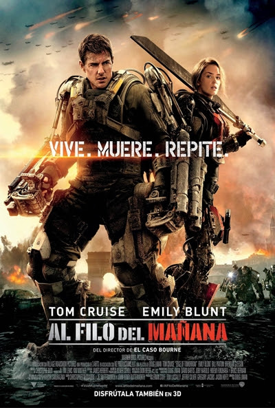 Cartel de Al filo del mañana (Edge of Tomorrow ) pelicula, crítica, cine, al filo del mañana, Edge of tomorrow, tom cruise, emily blunt, warner bros,