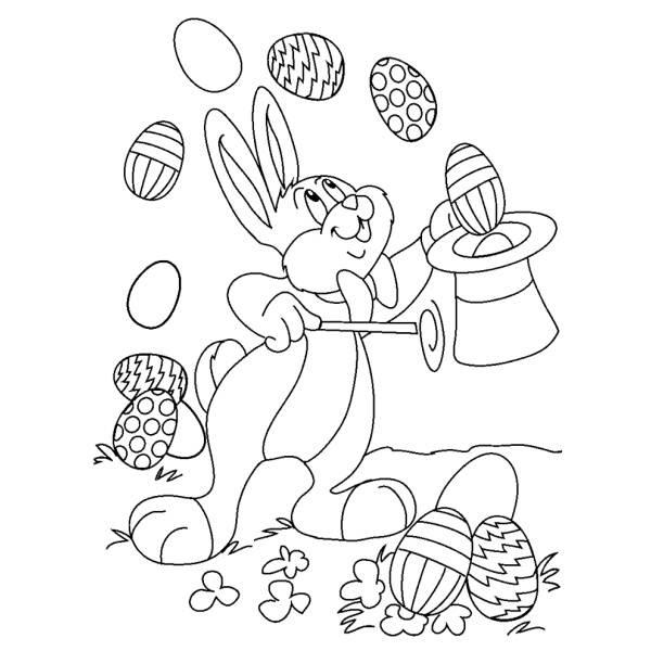 Disegno Di Coniglio Mago Di Pasqua Da Colorare Per Bambini