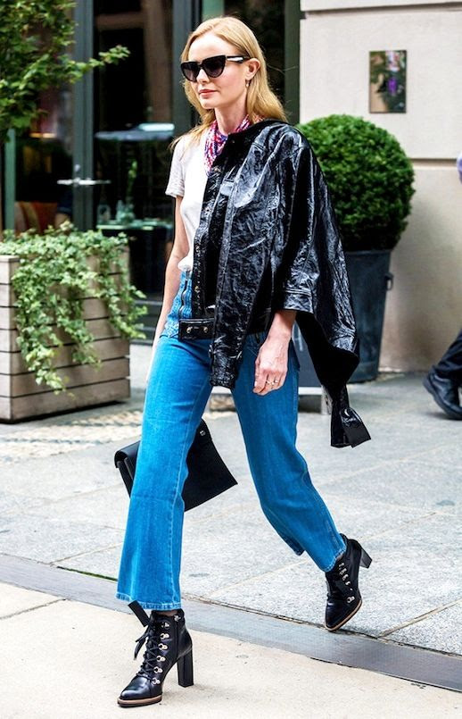Le Fashion Blog Fall Celebrity Style Kate Bosworth Cat Eye Sunglasses Printed Neck Scarf Grey Basic Tee Patent Leather Jacket Cropped Flared Jeans Lace Up Booties Via Who What Wear