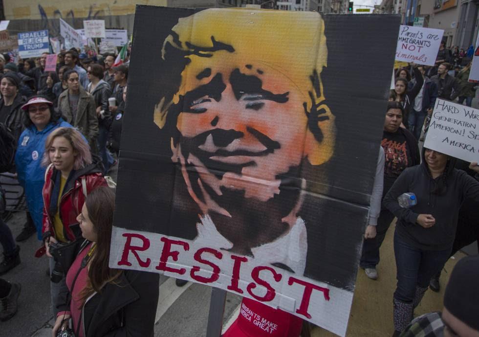 Protesta contra las políticas de Donald Trump en Los Ángeles, la semana pasada.