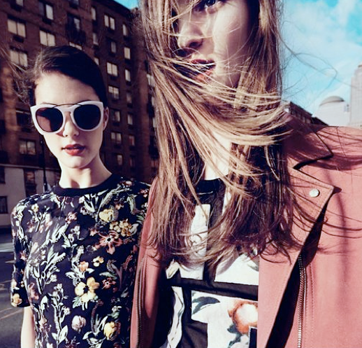 LE FASHION BLOG 31 PHILLIP LIM AD CAMPAIGN SS 2013 COLLECTION VIDEO PINK LEATHER MOTO JACKET PRINTS FLORALS TOP I HEART NUEVA YORK SKIRT RED LIPS BEAUTY HAIR GRAPHIC LETTER TEE COOL DOWN TOWN