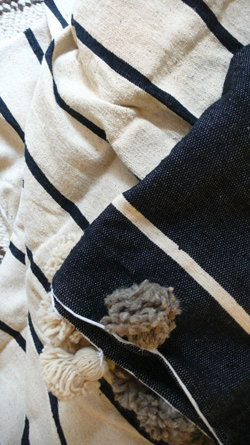 Image of Moroccan POM POM Cotton Blanket Black