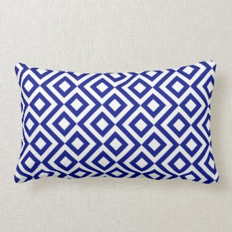 Blue and White Meander Pillow