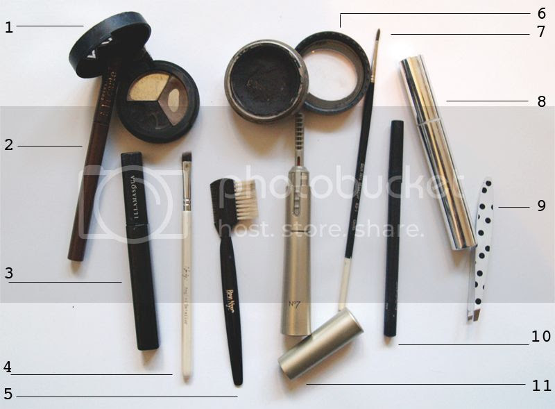 Makeup for eyes and brows, makeup brushes and tools