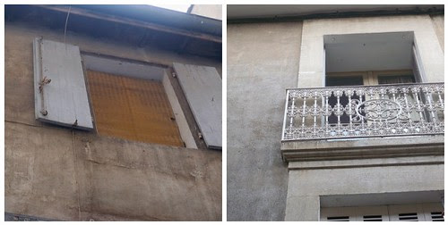 My window with the screen down on the left and the view from my window on the right
