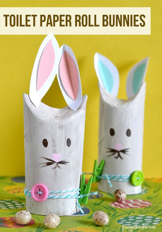 Toilet Paper Roll Bunnies - cheap, easy and cute! This is a great kids craft for Spring or Easter.