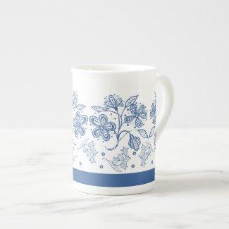 Custom Indigo Blue Floral Border Bone China Mug Tea Cup