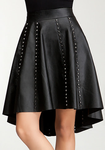 bebe Studded Leather Hi-Lo Skirt