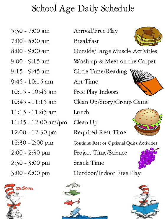 School Age Daily Schedule