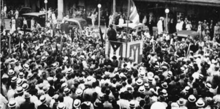 Líder nacionalista Pedro Albizu Campos, habla en la Universidad de Puerto Rico