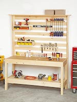 Workbench with Wall Storage Woodworking Plan - fee plans from WoodworkersWorkshop® Online Store - garage,worktables,workbenches,full sized patterns,woodworking plans,woodworkers projects,blueprints,drawings,blueprints,how-to-build