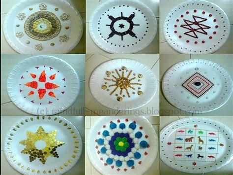 Thermocol aarthi plates   Artsy Craftsy Mom