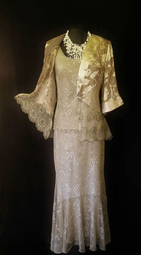 spencer alexis gold bronze taupe crotchet style lace