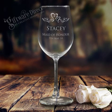 personalised engraved ml wine glass goblet wedding