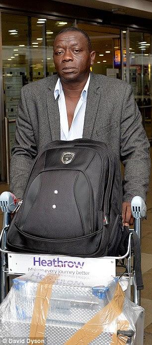 Passenger Sorious Samura arrives at Heathrow from Siera Leone