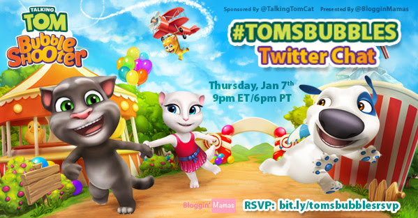 Talking Tom Bubble Shooter Twitter Party 1-7-16 at 9p EST