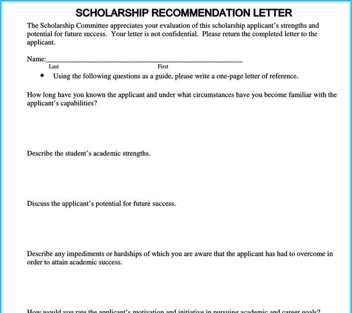 Recommendation For Scholarships Templates