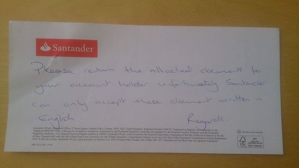 Note to Cymdeithas yr Iaith Gymraeg from Santander refusing their membership forms because they were in Welsh.