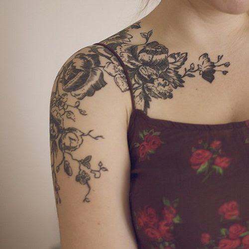 Black Flowers Sleeve Tattoo For Women Tattoomagz