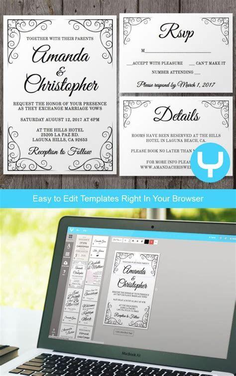 Vintage Printable Wedding Invitation   RSVP Template   You